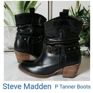 🖤 Steve Madden P Tanner Leather Boots